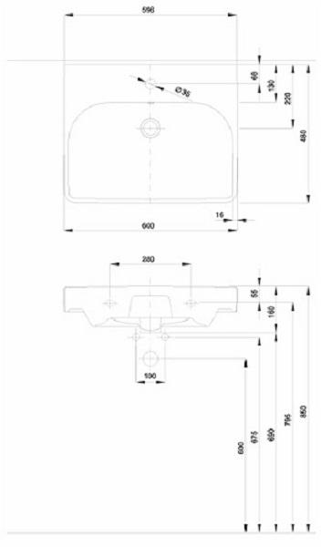 Lavoar Kolo Traffic 60 CM - Pentru montaj pe mobilier [5]