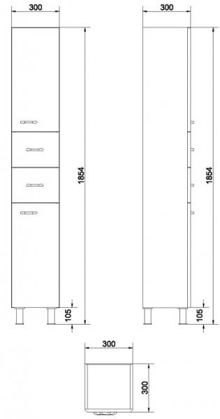 Mobilier Coloana Cersanit Alpina - Alb 4