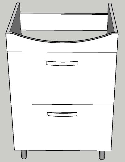Mobilier cu 2 sertare si picioare pentru lavoar Cersanit Carina 50 - PAL Alb 0