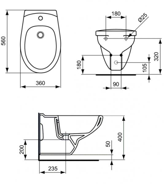 Pachet Complet Bideu Suspendat Ideal Standard Eurovit - Gata de Montaj - Cadru fixare + Bideu + Baterie bideu 6