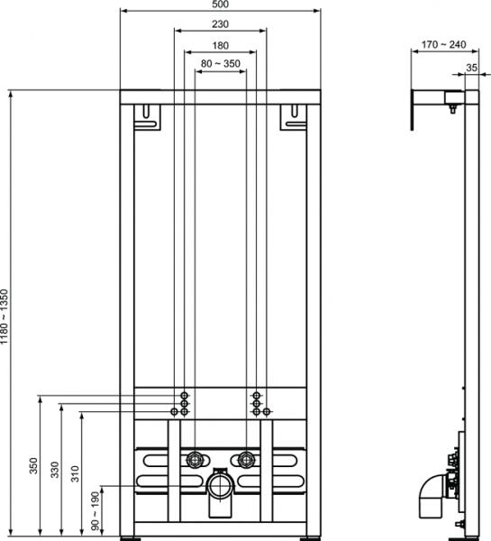 Pachet Complet Bideu Suspendat Ideal Standard Eurovit - Gata de Montaj - Cadru fixare + Bideu + Baterie bideu 4