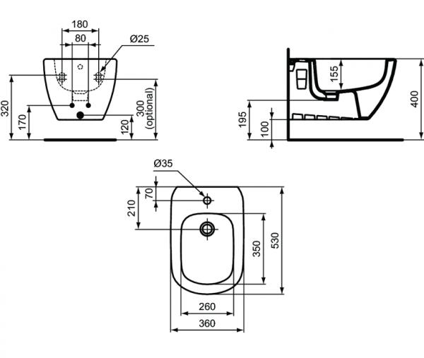 Pachet Complet Bideu Suspendat Ideal Standard Tesi - Gata de Montaj - Cadru fixare + Bideu + Baterie bideu [5]
