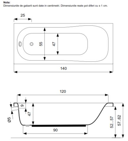 Pachet Complet - Cada Baie Acril Belform Blanca 140x70 + Cadru Metalic + Masca Frontala + Sifon Evacuare 3