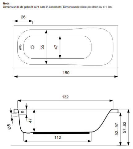 Pachet Complet - Cada Baie Acril Belform Blanca 150x70 + Cadru Metalic + Masca Frontala + Sifon Evacuare 3