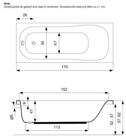 Pachet Complet - Cada Baie Acril Belform Blanca 170x70 + Cadru Metalic + Masca Frontala + Sifon Evacuare 3