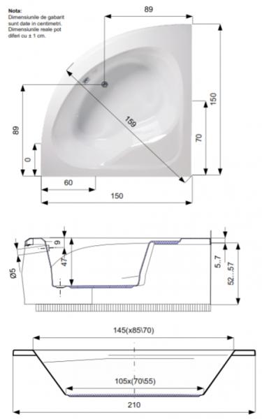 Pachet Complet - Cada Baie Acril Belform Dahlia 150x150 + Cadru Metalic + Masca Frontala + Sifon Evacuare 3
