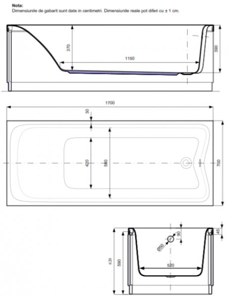 Pachet Complet - Cada Baie Acril Belform Ludica 170x70 + Cadru Metalic + Masca Frontala + Sifon Evacuare 2