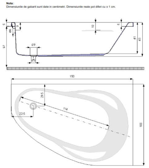 Pachet Complet - Cada Baie Acril Belform Melancholia 150x100 COLT STANGA + Cadru Metalic + Masca Frontala + Sifon Evacuare 3