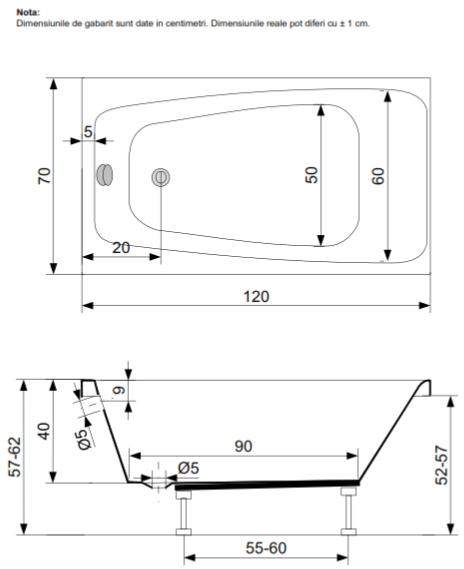 Pachet Complet - Cada Baie Acril Belform Mini 120x70 + Cadru Metalic + Masca Frontala + Sifon Evacuare [2]