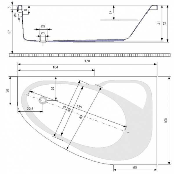 Pachet Complet - Cada Baie Acril Belform Mistika 170x100 COLT STANGA + Cadru Metalic + Masca Frontala + Sifon Evacuare 2