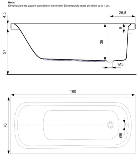 Pachet Complet - Cada Baie Acril Belform Nordica 160x70 cu sistem Hidromasaj S1 + Cadru Metalic + Masca Frontala + Sifon Automat Evacuare 3