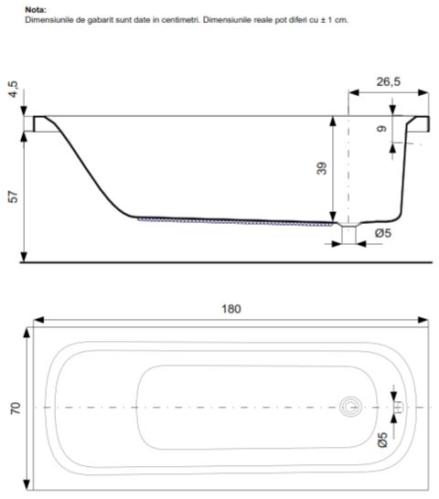 Pachet Complet - Cada Baie Acril Belform Nordica 180x70 cu sistem Hidromasaj S1 + Cadru Metalic + Masca Frontala + Sifon Automat Evacuare 3