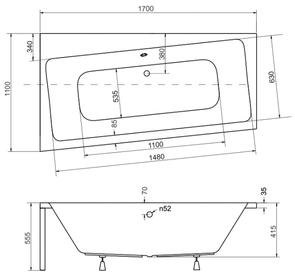 Pachet Complet - Cada Baie Acril Besco Infinity 170x110 COLT STANGA + Cadru Metalic + Masca Frontala + Sifon Evacuare 3
