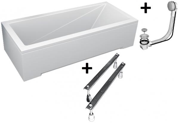 Pachet Complet - Cada Baie Acril Besco Modern 150x70 + Cadru Metalic + Masca Frontala + Masca Laterala + Sifon Evacuare 0