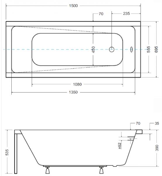 Pachet Complet - Cada Baie Acril Besco Modern 150x70 + Cadru Metalic + Masca Frontala + Masca Laterala + Sifon Evacuare 2