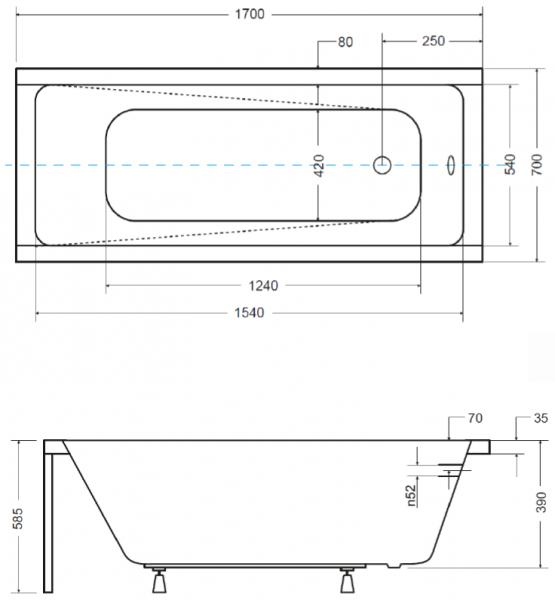Pachet Complet - Cada Baie Acril Besco Modern 170x70 + Cadru Metalic + Masca Frontala + Masca Laterala + Sifon Evacuare 2