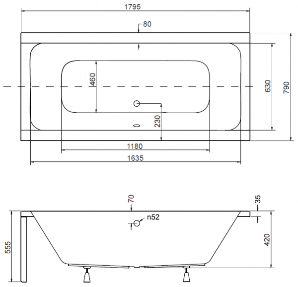 Pachet Complet - Cada Baie Acril Besco Quadro 180x80 + Cadru Metalic + Masca Frontala + Masca Laterala + Sifon Evacuare [2]