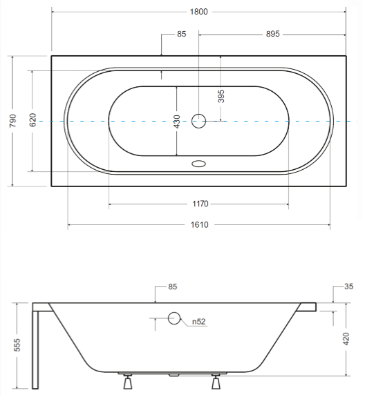 Pachet Complet - Cada Baie Acril Besco Vitae 180x80 + Cadru Metalic + Masca Frontala + Masca Laterala + Sifon Evacuare 4