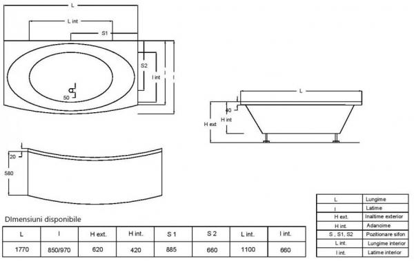 Pachet Complet - Cada Baie Acril Fibrocom Ceres 177x85 + Cadru Metalic + Masca Frontala + Sifon Evacuare 4