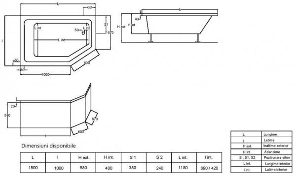 Pachet Complet - Cada Baie Acril Fibrocom Extensy 150x100 COLT DREAPTA + Cadru Metalic + Masca Frontala + Sifon Evacuare 5