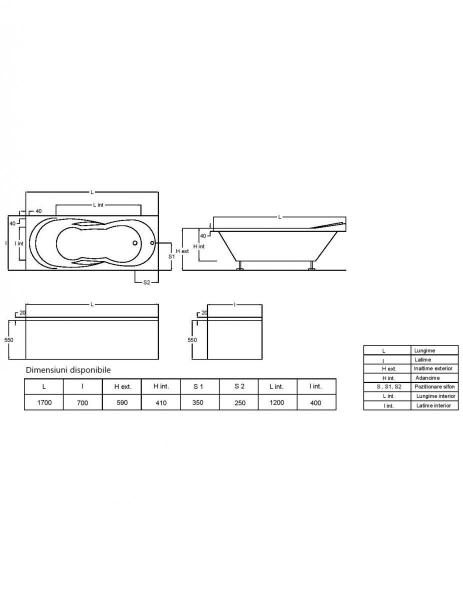 Pachet Complet - Cada Baie Acril Fibrocom Galas 170x70 + Cadru Metalic + Masca Frontala + Sifon Evacuare 4