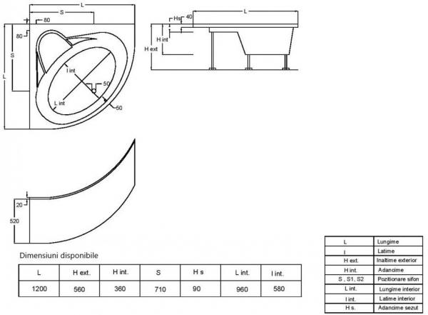 Pachet Complet - Cada Baie Acril Fibrocom Gemini 120x120 + Cadru Metalic + Masca Frontala + Sifon Evacuare 4