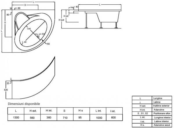 Pachet Complet - Cada Baie Acril Fibrocom Gemini 130x130 + Cadru Metalic + Masca Frontala + Sifon Evacuare 4