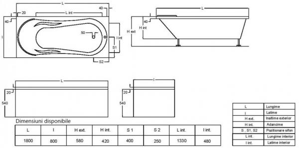 Pachet Complet - Cada Baie Acril Fibrocom Hercules 180x80 + Cadru Metalic + Masca Frontala + Sifon Evacuare 4