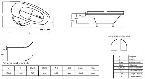Pachet Complet - Cada Baie Acril Fibrocom Hermes 170x105 COLT STANGA + Cadru Metalic + Masca Frontala + Sifon Evacuare 5