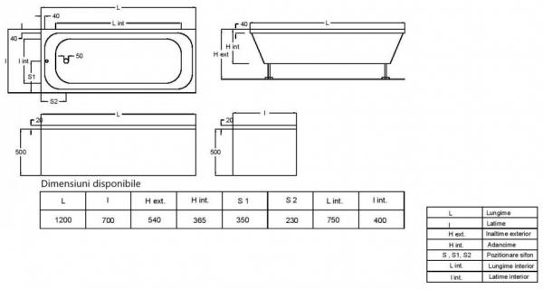 Pachet Complet - Cada Baie Acril Fibrocom Mikass 120x70 + Cadru Metalic + Masca Frontala + Sifon Evacuare 3