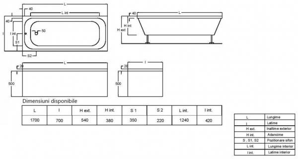Pachet Complet - Cada Baie Acril Fibrocom Mikass 170x70 + Cadru Metalic + Masca Frontala + Sifon Evacuare [3]