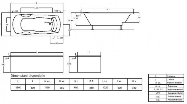 Pachet Complet - Cada Baie Acril Fibrocom Nikoss 180x80 + Cadru Metalic + Masca Frontala + Sifon Evacuare 2