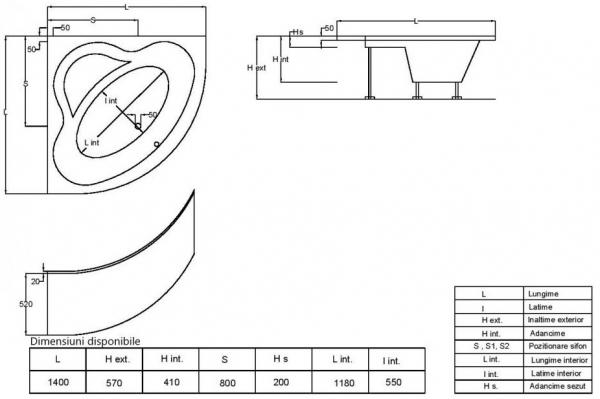 Pachet Complet - Cada Baie Acril Fibrocom Opal 140x140 + Cadru Metalic + Masca Frontala + Sifon Evacuare 3