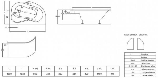 Pachet Complet - Cada Baie Acril Fibrocom Saturn 150x100 COLT STANGA + Cadru Metalic + Masca Frontala + Sifon Evacuare 4