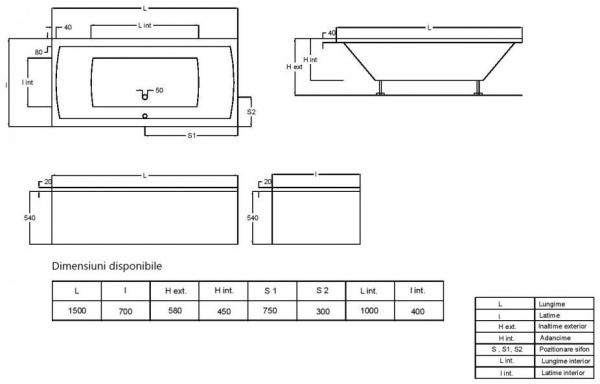 Pachet Complet - Cada Baie Acril Fibrocom Simplis 150x70 + Cadru Metalic + Masca Frontala + Sifon Evacuare 3