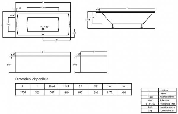Pachet Complet - Cada Baie Acril Fibrocom Simplis 170x70 + Cadru Metalic + Masca Frontala + Sifon Evacuare 3