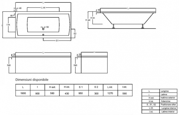 Pachet Complet - Cada Baie Acril Fibrocom Simplis 190x90 + Cadru Metalic + Masca Frontala + Sifon Evacuare 3