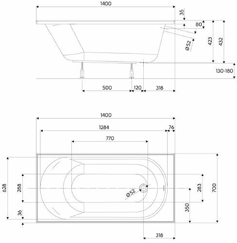 Pachet Complet - Cada Baie Acril Kolo Opal Plus 140x70 + Cadru Metalic + Masca Frontala MDF + Sifon Evacuare 3