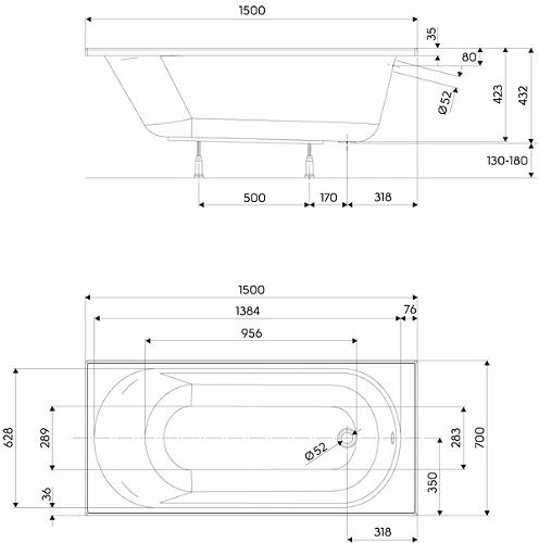 Pachet Complet - Cada Baie Acril Kolo Opal Plus 150x70 + Cadru Metalic + Masca Frontala MDF + Sifon Evacuare 3