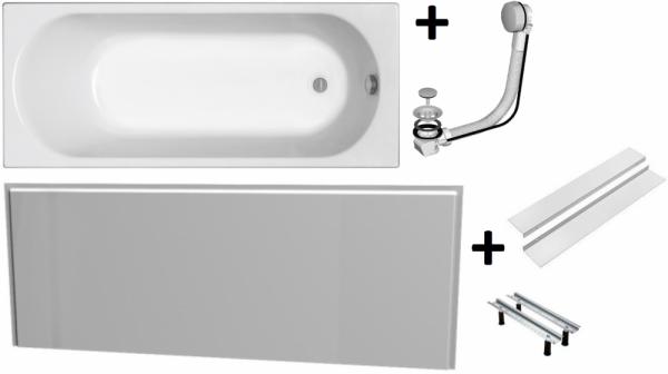 Pachet Complet - Cada Baie Acril Kolo Opal Plus 160x70 + Cadru Metalic + Masca Frontala MDF + Sifon Evacuare 0