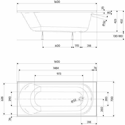 Pachet Complet - Cada Baie Acril Kolo Opal Plus 160x70 + Cadru Metalic + Masca Frontala MDF + Sifon Evacuare 3
