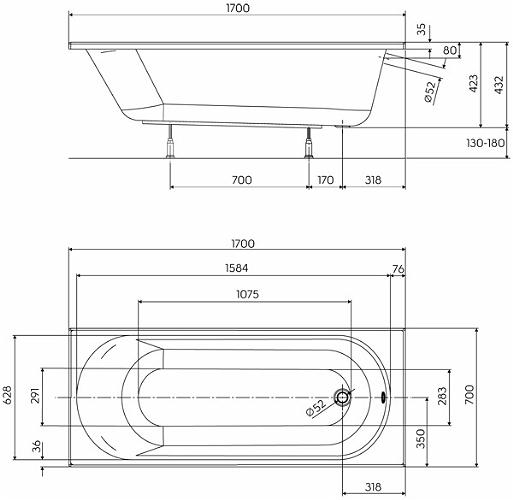 Pachet Complet - Cada Baie Acril Kolo Opal Plus 170x70 + Cadru Metalic + Masca Frontala MDF + Sifon Evacuare 3