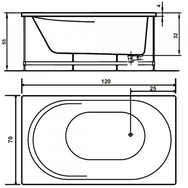 Pachet Complet - Cada Baie Acril WEST Co Rose 120x70 + Cadru Metalic + Masca Frontala + Sifon Evacuare 2