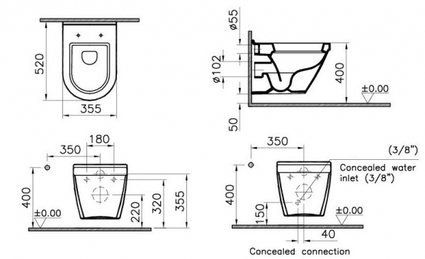 Pachet Complet Sistem WC cu Bideu Suspendat Vitra S50 - Gata de Montaj - Cadru fixare + Rezervor Ingropat, Clapeta Crom, Vas WC cu functie de bideu, Sistem complet baterie incastrata bideu si Capac WC 5