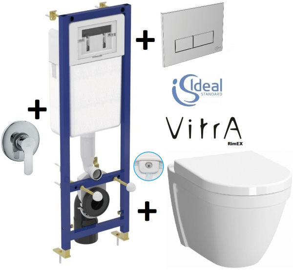 Pachet Complet Sistem WC cu Bideu Suspendat Vitra S50 RimEX - Gata de Montaj - Cadru fixare + Rezervor Ingropat, Clapeta Crom, Vas WC cu functie de bideu, Sistem complet baterie incastrata bideu si Ca 0