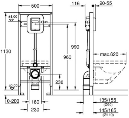 Pachet Complet Sistem WC Grohe cu Bideu Suspendat Vitra S50 RimEX - Gata de Montaj - Cadru fixare + Rezervor Ingropat, Clapeta Crom, Vas WC cu functie de bideu, Sistem complet baterie incastrata bideu [14]