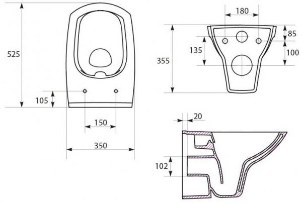 Pachet Complet Sistem WC Suspendat Cersanit Carina CLeanON - Gata de Montaj - Cadru fixare + Rezervor Ingropat, Clapeta Crom, Vas WC si Capac WC SoftClose 8