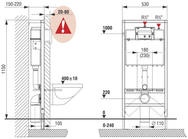 Pachet Complet Sistem WC Suspendat Cersanit Delphi - Gata de Montaj - Cadru fixare + Rezervor Ingropat, Clapeta Alba, Vas WC si Capac WC 8