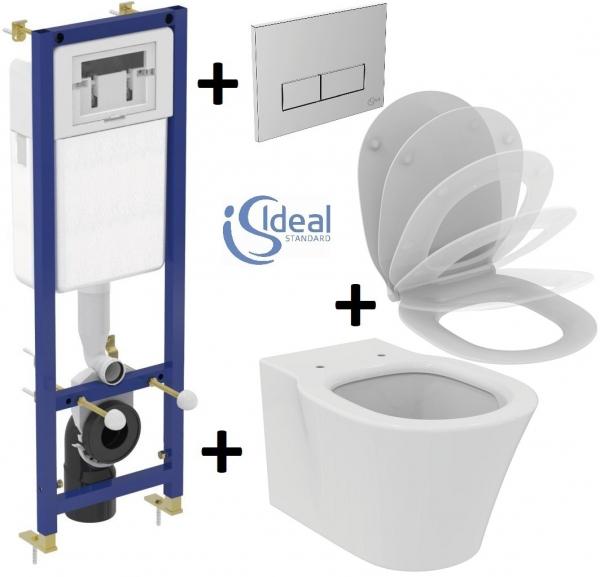Pachet Complet Sistem WC Suspendat Ideal Standard Connect Air Aquablade - Gata de Montaj - Cadru fixare + Rezervor Ingropat, Clapeta Crom, Vas WC si Capac WC Softclose 0