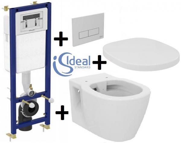 Pachet Complet Sistem WC Suspendat Ideal Standard Connect Rimless - Gata de Montaj - Cadru fixare + Rezervor Ingropat, Clapeta Crom, Vas WC si Capac WC 0